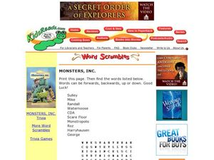 Monsters, Inc Word Search Lesson Plan