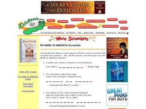 My Name is America Scramble Lesson Plan