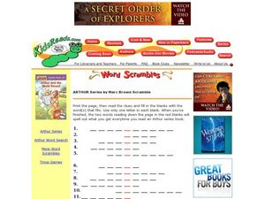 Arthur Series by Marc Brown Scramble Lesson Plan