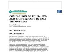 Comparison of Four-, Six-, And Eight-bp Cuts in Calf Thymus Dna Lesson Plan