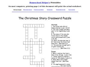 The Christmas Story Crossword Puzzle Worksheet