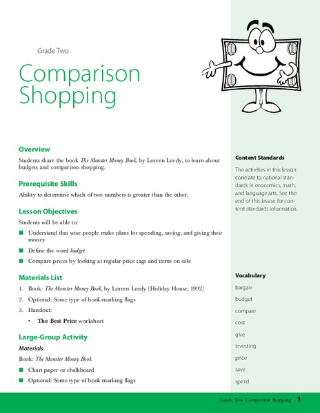 Comparison Shopping Lesson Plan