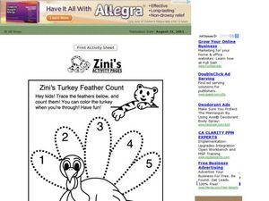 Zini's Turkey Feather Count Worksheet