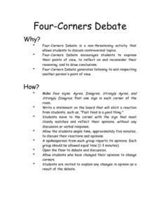 Four-Corners Debate 5th - 8th Grade Worksheet | Lesson Planet