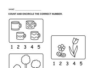 Count the Objects in the Set (1-5) Worksheet