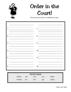 Order in the Court! -oo Word Family Alphabetical Order Lesson Plan