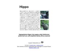Hippo Word Search Worksheet