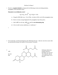 Problem Set Exam 2 Organic Chemistry Worksheet