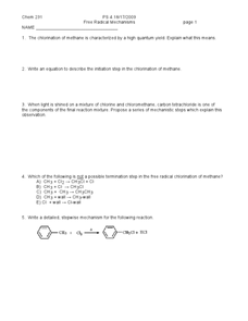 Free Radical Mechanisms Worksheet