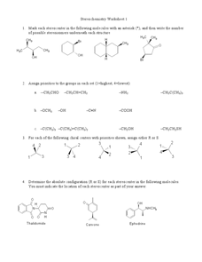 Stereochemistry Worksheet I Worksheet