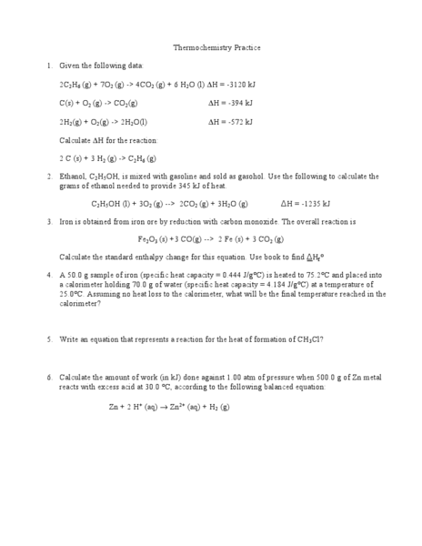 Thermochemistry Practice Worksheet For 10th Higher Ed