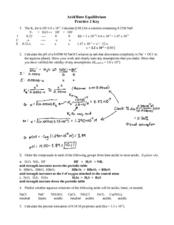 Acid/Base Equilibrium Worksheet