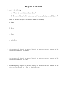Organic Worksheet Worksheet