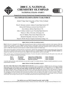 2000 U.S. National Chemistry Olympiad National Exam - Part I Worksheet