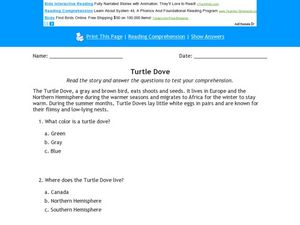 Turtle Dove Worksheet