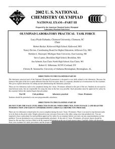 2002 U.S. National Chemistry Olympiad National Exam - Part III Worksheet