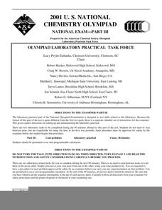 2001 U.S. National Chemistry Olympiad Part III Worksheet