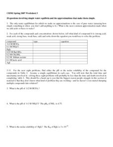 Water Equilibrium Worksheet
