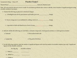 Chemistry Basics Practice Exam Worksheet
