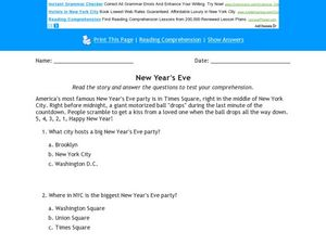 New Year's Eve Reading Comprehension Activity Worksheet