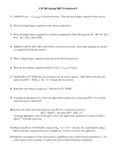 Balanced Equations Worksheet