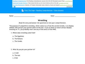 Wrestling Worksheet