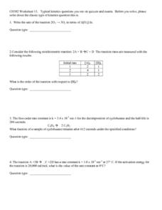Kinetics Questions Worksheet