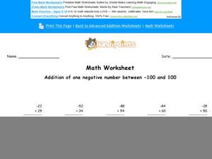 Addition of Negative and Positive Numbers Worksheet