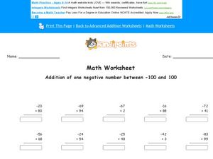 Addition of One Negative Number Between -100 and 100 Worksheet