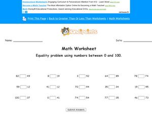 Math Worksheet: Equality Problem Using Numbers Between 0 and 100. Worksheet