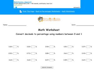 Math Worksheet: Convert Decimals to Percentages Using Numbers Between 0 and 1 Worksheet