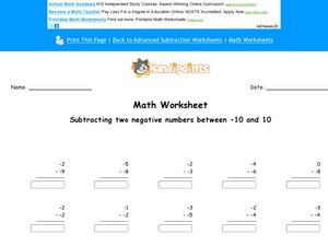 Two Negative Numbers Subtraction Worksheet