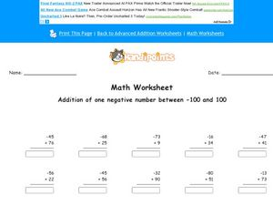Add Negative and Positive Numbers Worksheet