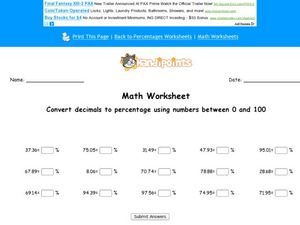 Decimal to Percentage Conversions Worksheet