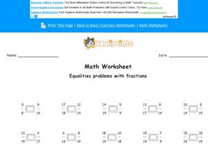 More Equalities With Fractions Problems Worksheet