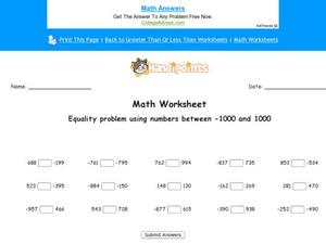 Equality problems: 1,000 Worksheet