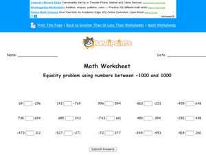 Math Worksheet: Equality Problem Using Numbers Between -1000 and 1000 Worksheet