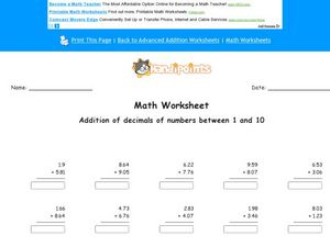 Addition of Decimals of Numbers Between 1 and 10 Worksheet
