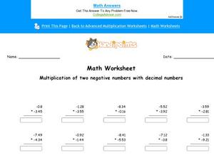 Multiplication of Negative Numbers with Decimal Numbers Worksheet