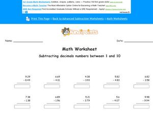 Math Worksheet:  Subtracting Decimal Numbers 3 Worksheet