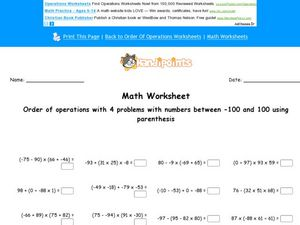 Order of Operations with Numbers Between -100 and 100 Worksheet