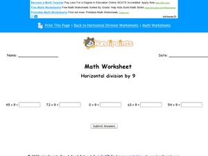 Math Worksheet:  Horizontal Division 4 Worksheet