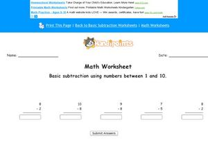 Subtraction: Numbers 1-10 Worksheet