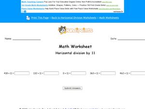 Math Worksheet: Horizontal Division By 11, #5 Worksheet