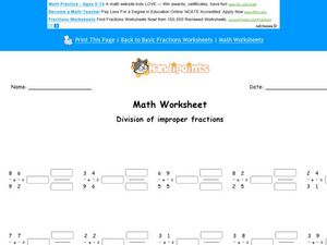 Math Worksheet: Division of Improper Fractions Worksheet