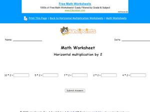 Horizontal Multiplication By Two Worksheet