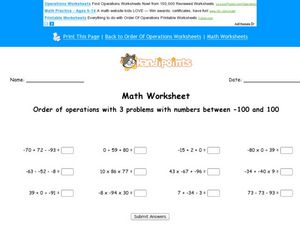 Math Worksheet: Order of Operations #4 Worksheet