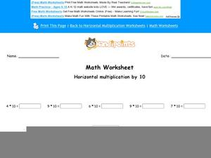 Horizontal Multiplication by 10 Part 9 Worksheet