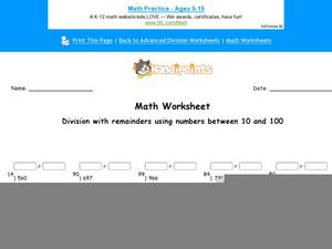 Division with Remainders Using Numbers Between 10 and 100 Worksheet