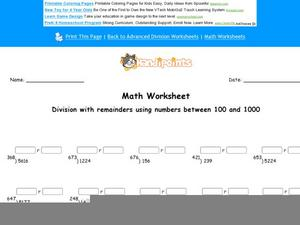 Division with Remainders Using Numbers Between 100 and 1000: Part 1 Worksheet